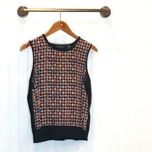 Liz Claiborne Sweater Vest Black/Floral Silk M